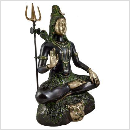 Sitzender Shiva aus Messing Seite