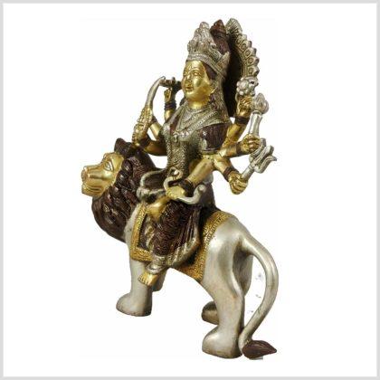 Durga Messing Kupfer Silber Seitenansicht