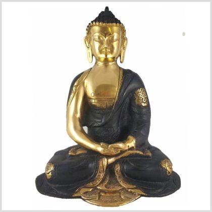 Erleuchteter Buddha Asthamangala Schwarzgold Vorderansicht