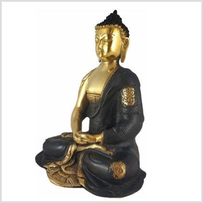 Erleuchteter Buddha Asthamangala Schwarzgold Seitenansicht Links