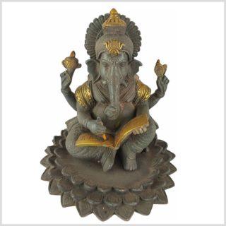 Ganesha im Lotus mit Buch Graugold Vorderansicht