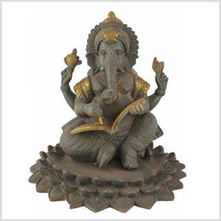 Ganesha im Lotus mit Buch Graugold Vorne