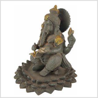 Ganesha im Lotus mit Buch Graugold Seitenansicht