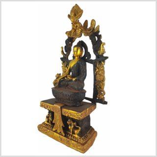 Medizinbuddha Tempelbuddha braungold Seitenansicht Links