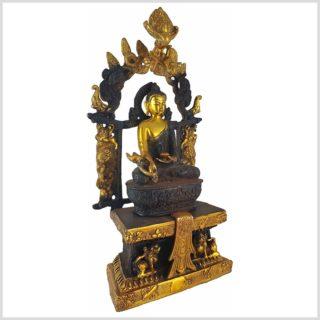 Medizinbuddha Tempelbuddha braungold Seitenansicht