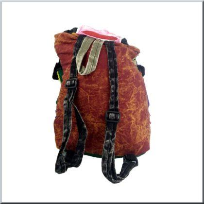 Patchwork Rucksack rote Farbe Hinten