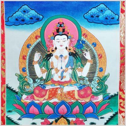 Thangka Avalokiteshvara Nahansicht