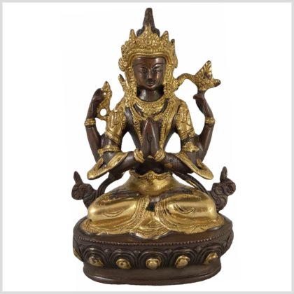 Avalokiteshvara 22cm 1,9 KG Messing verkupfert Vorne