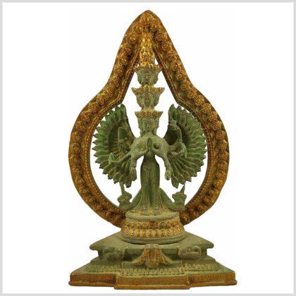 Chenrezig Avalokiteshvara Messing Mintgrün Frontansicht