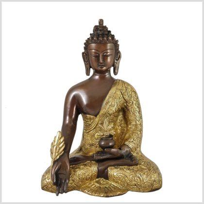 Medizinbuddha Messing Verkupfert Vorderansicht 2,9KG