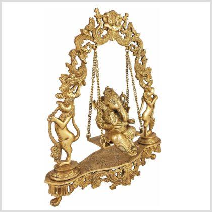 Ganesha sitzend in Schaukel Messing 8KG Seite Rechts