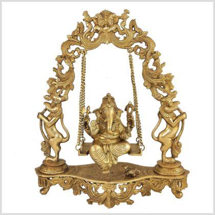 Ganesha sitzend in Schaukel Messing 8KG Vorne
