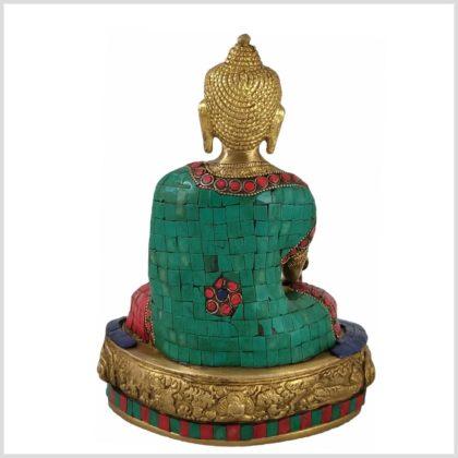 Medizinbuddha mit Steinen Messing 3,5KG 28cm Rücken