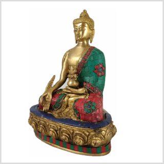 Medizinbuddha mit Steinen Messing 3,5KG 28cm Seite Links