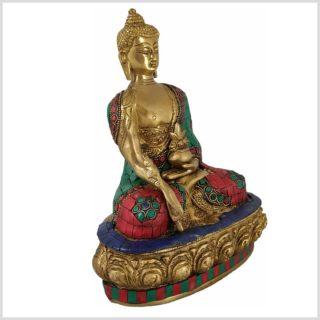 Medizinbuddha mit Steinen Messing 3,5KG 28cm Seite Rechts
