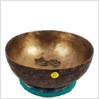 Alte tibetische Klangschale mit Patina 504 Gramm Seite Oben