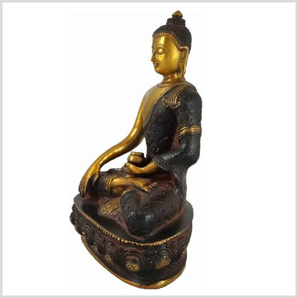 Erdender Buddha aus Nepal Braungold 3KG Seite Links