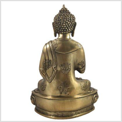 Lehrender Buddha auf Podest Asthamangala Messing 34cm 4KG Hinten