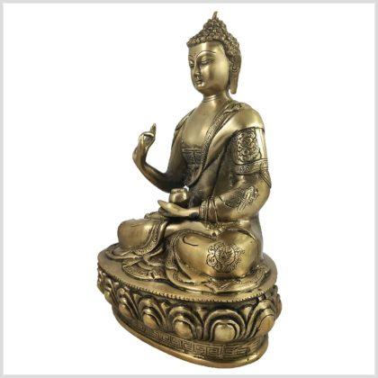 Lehrender Buddha auf Podest Asthamangala Messing 34cm 4KG Seite Rechts