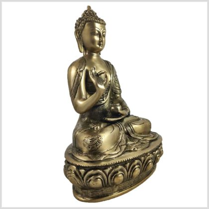 Lehrender Buddha auf Podest Asthamangala Messing 34cm 4KG Seite Links