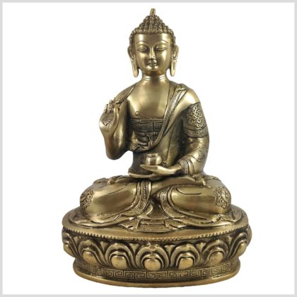 Lehrender Buddha auf Podest Asthamangala Messing 34cm 4KG