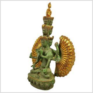 Chenrezig Avalokiteshvara Messing mintgrün verziert Seite Links