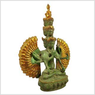 Chenrezig Avalokiteshvara Messing mintgrün verziert Seitenansicht