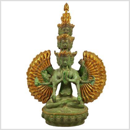 Chenrezig Avalokiteshvara Messing 2,9 KG 36cm Frontansicht