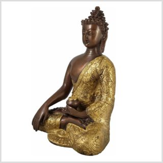 Erdender Buddha Messing versilbert 3,1 KG 26cm Seite Links