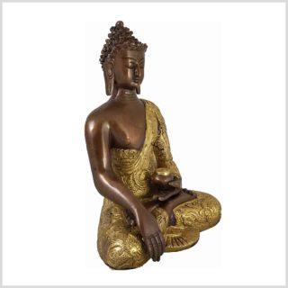 Erdender Buddha Messing versilbert 3,1 KG 26cm Seite Rechts
