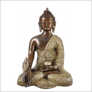 Medizinbuddha Kupfer Silber 3,1 KG 26cm Frontansicht