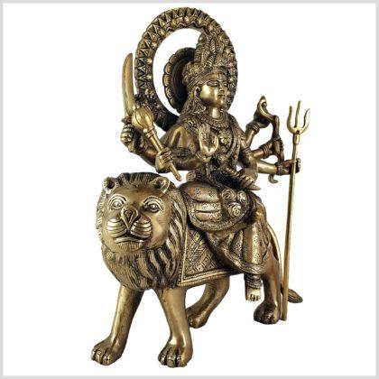 Durga auf Löwe 6,3 KG Messing Seite Links