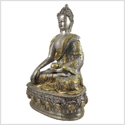 Buddha mit Erdberührungsgeste Bhumiparsha Mudra Messing versilbert Seite