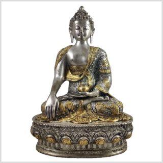 Buddha mit Erdberührungsgeste Bhumiparsha Mudra Messing versilbert Vorne