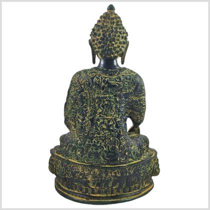 Erdender Buddha 33cm Gelbgrün Rücken