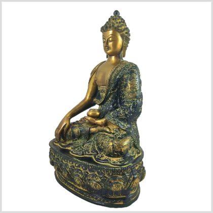 Erdender Buddha 33cm Gelbgrün Seite Links