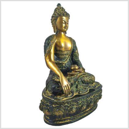 Erdender Buddha 33cm Gelbgrün Seite Rechts