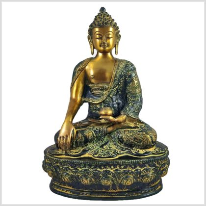 Erdender Buddha 33cm Gelbgrün Vorderansicht