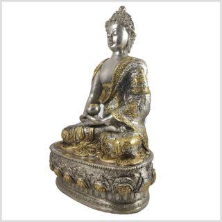 Erleuchteter Buddha Silber Messing Seitenansicht Links