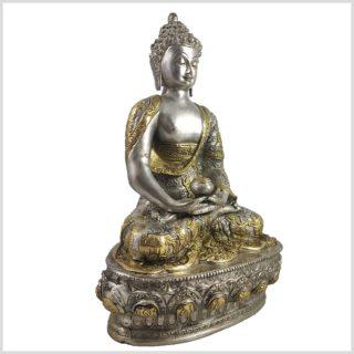 Erleuchteter Buddha Silber Messing Seitenansicht Rechts