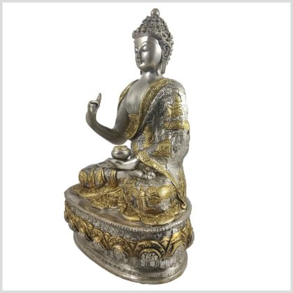 Lehrender Buddha Vitarka Mudra Messing versilbert 33cm 4,2 KG Seite Rechts