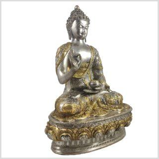 Lehrender Buddha Vitarka Mudra Messing versilbert 33cm 4,2 KG Seite Links