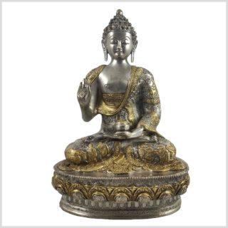 Lehrender Buddha Vitarka Mudra Messing versilbert 33cm 4,2 KG Vorderansicht
