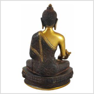 Medizinbuddha 3KG 25cm Nepalbraun Gold Hinten