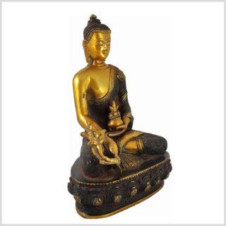 Medizinbuddha 3KG 25cm Nepalbraun Gold Seite links