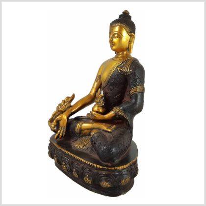 Medizinbuddha 3KG 25cm Nepalbraun Gold Seite Rechts