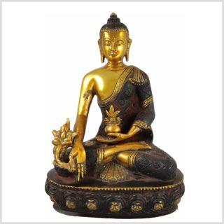 Medizinbuddha 3KG 25cm Nepalbraun Gold Vorderansicht