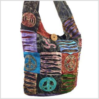 Patchwork Beutel Tasche Sack Aum Peace Vorne