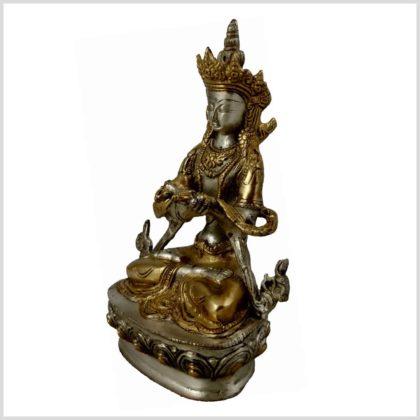 Vajradhara Diamantenbuddha Messing Silber Seitenansicht Links