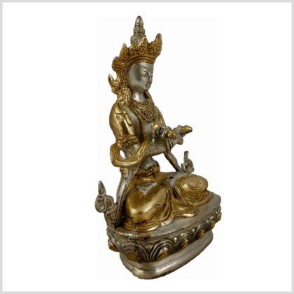 Vajradhara Diamantenbuddha Messing Silber Seitenansicht Rechts